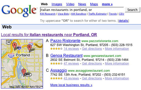 Google Onebox screenshot, Feb 15
