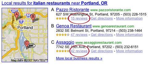 Google Onebox screenshot, March 20
