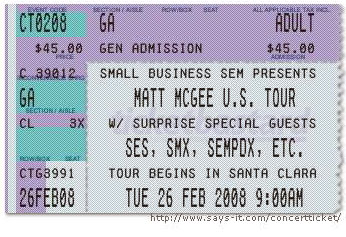 fake concert ticket
